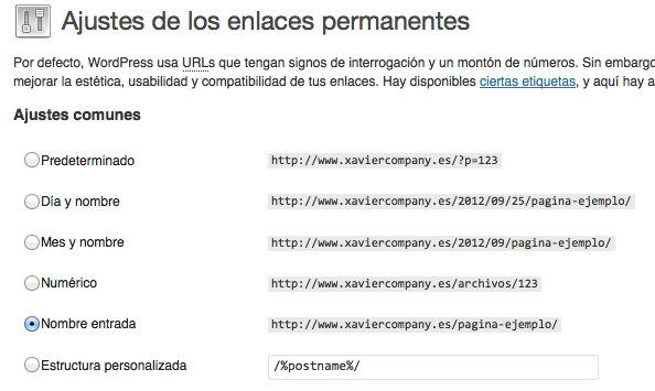 WordPress - Ajustes - Enlaces permanentes